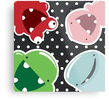 Background with cute colorful monsters Metal Print