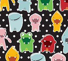 Background with cute colorful monsters by BlueLela