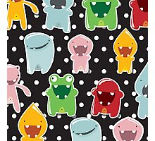 Background with cute colorful monsters Photographic Print