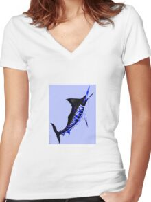 Electric marlin Women's Fitted V-Neck T-Shirt