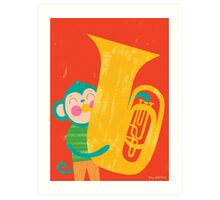 Animal Band - Tuba Monkey Art Print