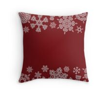 Winter design with abstract snowflakes on red Throw Pillow