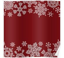 Winter design with abstract snowflakes on red Poster