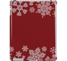 Winter design with abstract snowflakes on red iPad Case/Skin