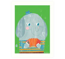 Animal Band - Elephant Accordionist  Art Print