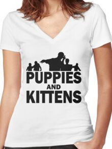 Z Nation: Puppies and Kittens Women's Fitted V-Neck T-Shirt