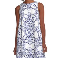 Abstract geometric pattern with blue arabesque ornament A-Line Dress