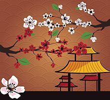 Japanese card with cherry blossom, sakura and traditional Japanese elements by BlueLela