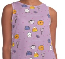 Halloweenie Kawaii Purple Doodle Pattern Design Contrast Tank