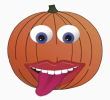 Pumpkin Character With Big Eyes and Tongue Out Baby Tee