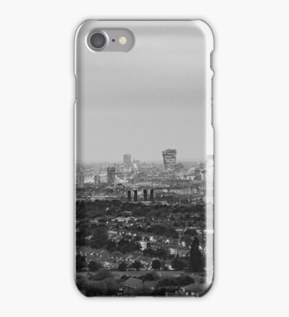 Black and White London Aerial View at Night iPhone Case/Skin