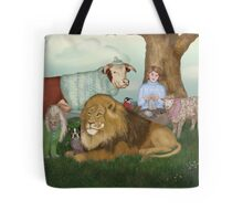 The Hand Knitted Peaceable Kingdom  Tote Bag