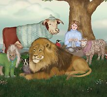 The Hand Knitted Peaceable Kingdom  by Kim  Harris