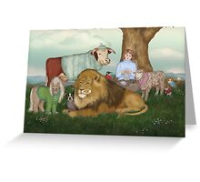 The Hand Knitted Peaceable Kingdom  Greeting Card