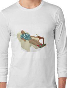 Black man wearing hawiian shirt Long Sleeve T-Shirt