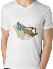 Black man wearing hawiian shirt Mens V-Neck T-Shirt
