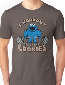 I Workout So I Can Eat Cookies - Cookie Monster Unisex T-Shirt