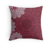 Red autumn design with abstract geometric mandala ornament Throw Pillow