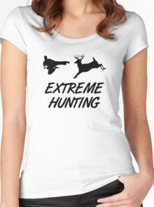 Extreme Hunting Karate Kick Deer Women's Fitted Scoop T-Shirt