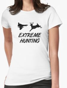 Extreme Hunting Karate Kick Deer Womens Fitted T-Shirt
