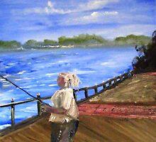 Fishing at Elizabeth Park in Trenton Michigan by tusitalo