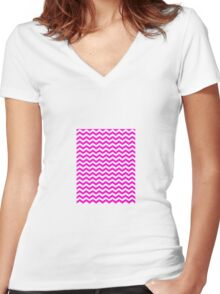 CHEVRON PINK Women's Fitted V-Neck T-Shirt