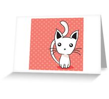 Adorable kitten on dotted background Greeting Card