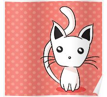 Adorable kitten on dotted background Poster