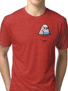 Too Many Birds! - Blue Budgie Tri-blend T-Shirt
