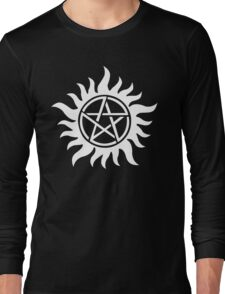 Anti-Possession Tattoo Symbol White Version - Supernatural Inspired Long Sleeve T-Shirt
