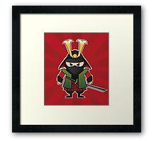 Samurai cartoon illustration on red sunburst background Framed Print