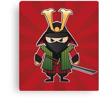 Samurai cartoon illustration on red sunburst background Canvas Print