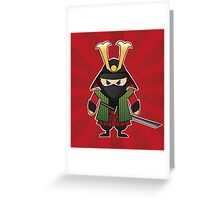 Samurai cartoon illustration on red sunburst background Greeting Card