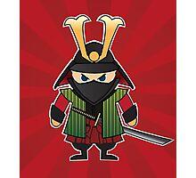 Samurai cartoon illustration on red sunburst background Photographic Print