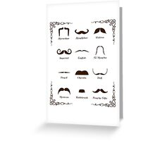 Mustache Style Identification Chart Greeting Card