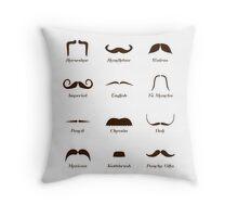 Mustache Style Identification Chart Throw Pillow