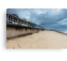 Row of Beach Huts at Southwold Pier Canvas Print