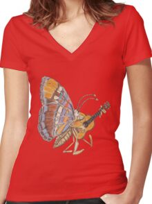 music guitar Women's Fitted V-Neck T-Shirt