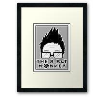 The8BitMonkey Head & Logo In B/W Framed Print