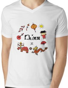china symbol and Hieroglyph Mens V-Neck T-Shirt