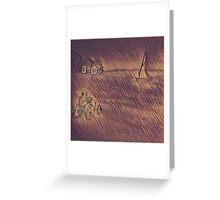 Wood Block Waves of Wheat Greeting Card