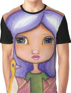 Purple Hair Girl and Bird Graphic T-Shirt