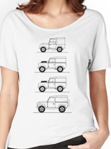 Evolution of Land Rover line art Women's Relaxed Fit T-Shirt