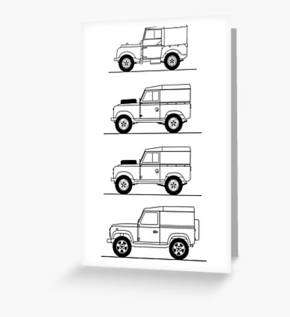 Evolution of Land Rover line art Greeting Card