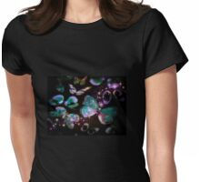 LILAC FLUTTER NIGHT BUTTERFLY Womens Fitted T-Shirt