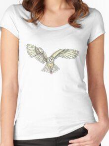 Barn owl in flight Women's Fitted Scoop T-Shirt