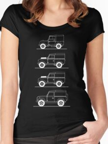 Evolution of Land Rover line art for dark colours Women's Fitted Scoop T-Shirt