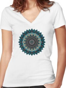 Colorful mandala Women's Fitted V-Neck T-Shirt