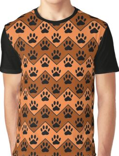 Orange And Brown Chevron With Dog Paw Pattern Graphic T-Shirt