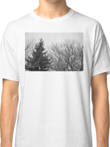 black and white snow trees Classic T-Shirt